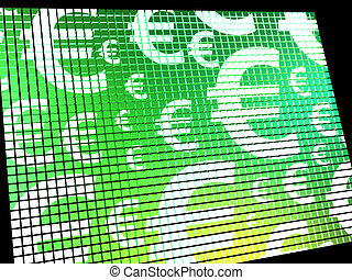 Euro Symbols On Computer Screen Showing Money And Investment