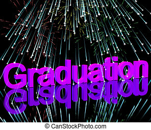 Graduation Word With Fireworks Shows School Or University...