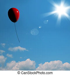 Red Balloon Soaring Representing Freedom Or Being Alone -...