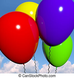 Festive Colorful Balloons In The Sky For Birthday And Anniversary Celebrations
