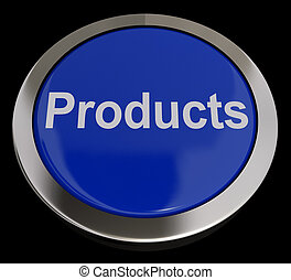 Products Button In Blue Showing Internet Shopping Goods