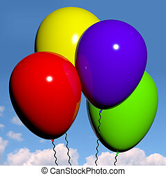 festivo, coloridos, balões, em, a, céu, para,...