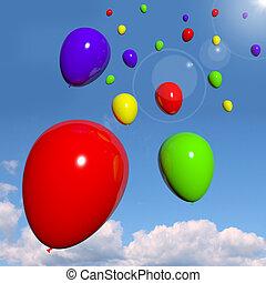 coloridos, festivo, céu, aniversário, balões, celebração