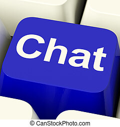 Chat Word Computer Key Representing Talking Or Texting -...