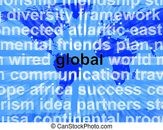 Global Word On Map Showing International Commerce