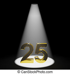 Gold 25th 3d Number Representing Anniversary Or Birthdays