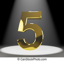 Gold Five Or 5 3d Number Closeup Representing Anniversary Or...