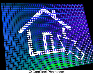 Home Symbol On Computer Monitor Showing Real Estate Or...