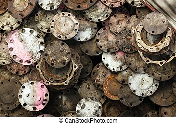 rusted mechanic background - stack of rusted metallic car...