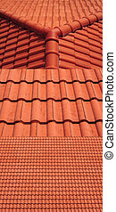 3 view of red roof tiles background
