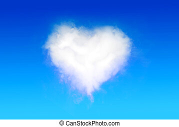 Heart Shaped Cloud on the blue sky