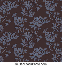 Roses damask seamless pattern - Romantic dark roses seamless...