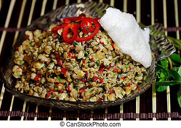 Mussel Rice Paper - Spicy sauteed baby mussel with roasted...