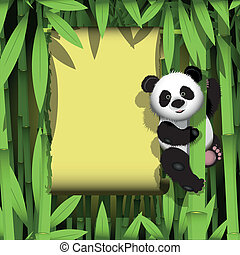 Panda in the jungle - illustration curious panda on stem of...