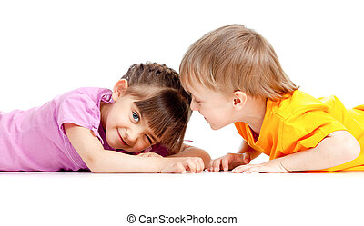 Kids boy and girl playing together isolated on white background