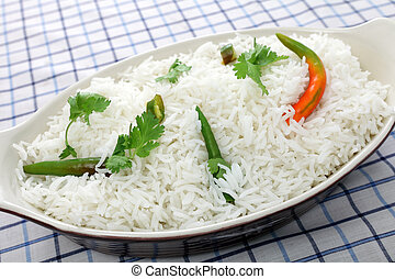 Basmati, arroz, cilantro, chillis
