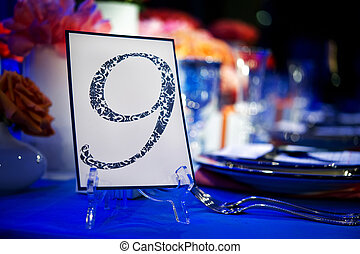 Banquet Table with Number Card - Image of a custom printed...