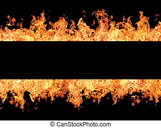 Black stripe and fire flames on edges