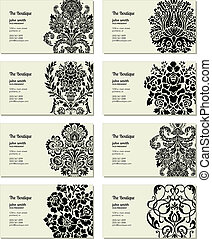Vector Victorian Business Card Set. Easy to edit.