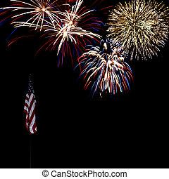 Fireworks Over American Flag