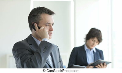 Business indoor - Handsome businessman talking on the phone,...
