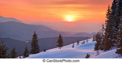 Winter landscape on a sunset Mountains Carpathians, Ukraine...