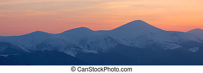 Winter Landscape at Sunset - Winter landscape in the...