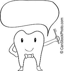 Teeth cartoon hand drawing - Teeth cartoon doodle hand...
