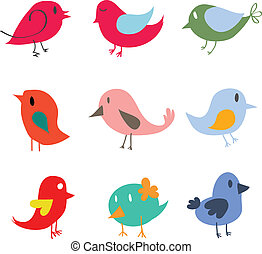 Set of different cute birds - Vector
