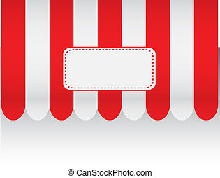 Red awning with tags - Vector Design EPS10