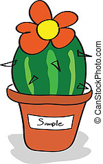 Cactus in a pot with tags - Vector Design EPS10