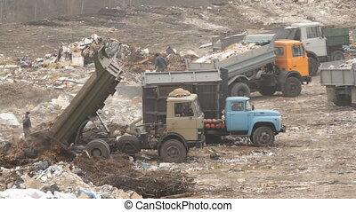 Truck unloading garbage