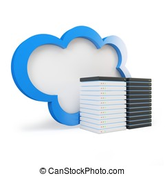 3d Cloud computing concept severs and terminal on white...