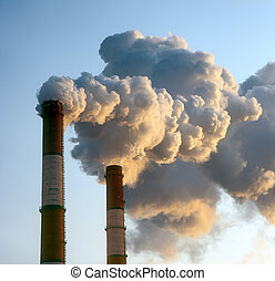 Smokestacks - Air pollution by smoke coming out of two...