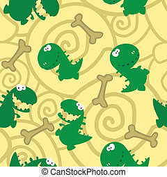 seamless dinosaurs and bones - illustration of a seamless...