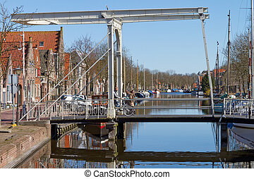 Edam bridge over canal - Edam iron bridge over canal,...