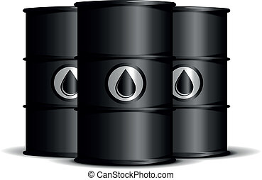 oil barrels - illustration of black barrels with oil labels