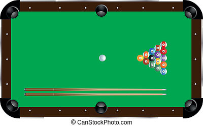 pool table - detailed illustration of a pool table with cues...