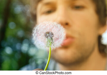 Dandelion and man face on background blowing (focus on dandelion)
