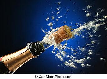 champaña, botella, listo, celebración