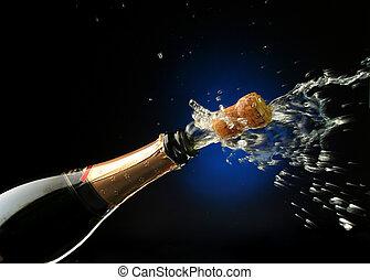 Champagne bottle ready for celebration - Champagne splash....