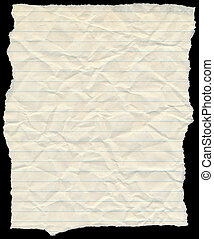 Old yellowing crumpled lined paper torn edges isolated on...