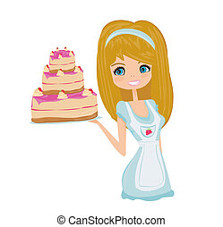 Beautiful lady cooking cake