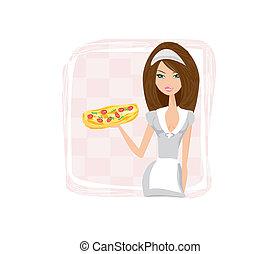 beautiful waitress enjoys pizza