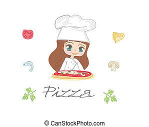 beautiful woman enjoys pizza