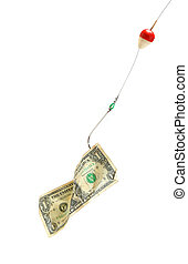 Conceptual. Dollar bill in a hook - Money on a fishing hook....