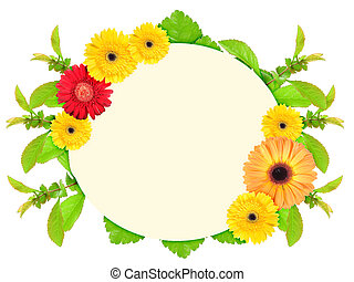 Frame with motley flowers - Floral ellipse frame with motley...