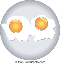 SCRAMBLED EGGS. - Fried eggs with two yolks on a...