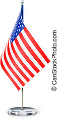 USA's flag on flagstaff and support vector illustration...