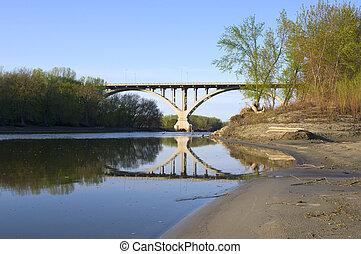 Mendota Bridge from Shores of Minnesota River - Mendota...